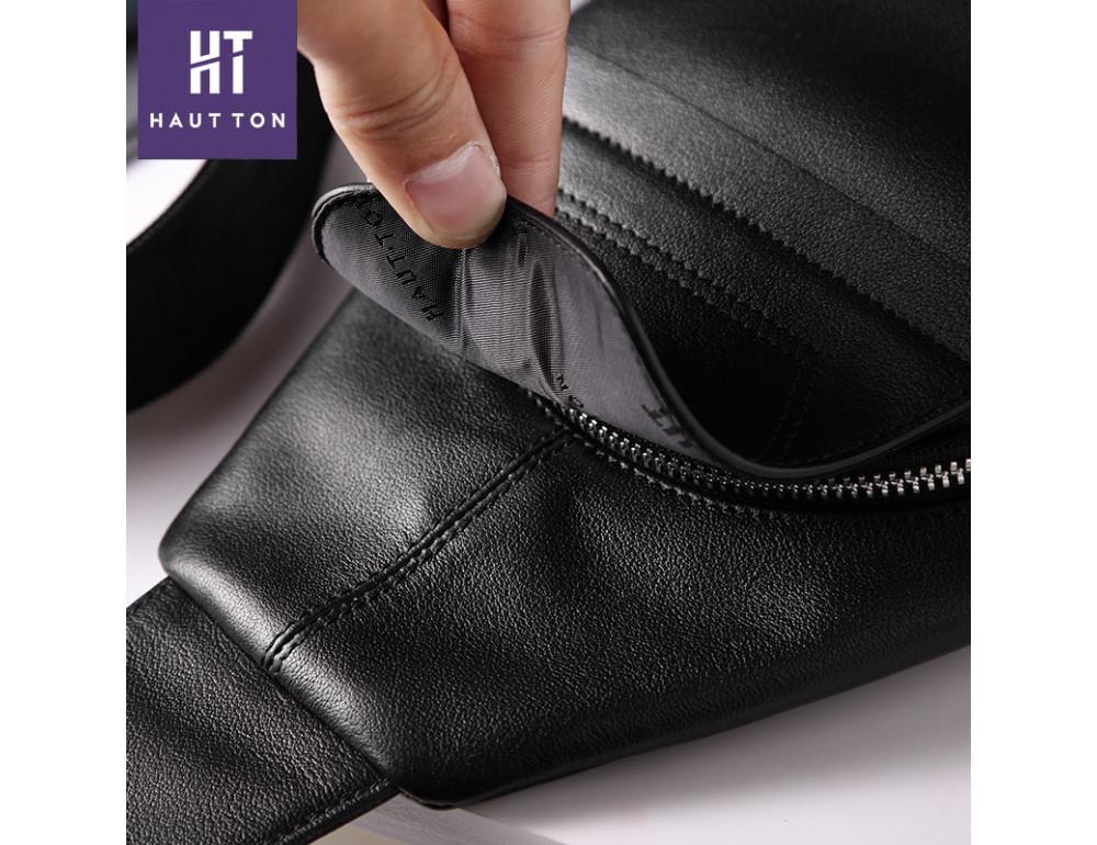 Мужская кожаная сумка-рюкзак Hautton DB116A чёрный - Фото № 3