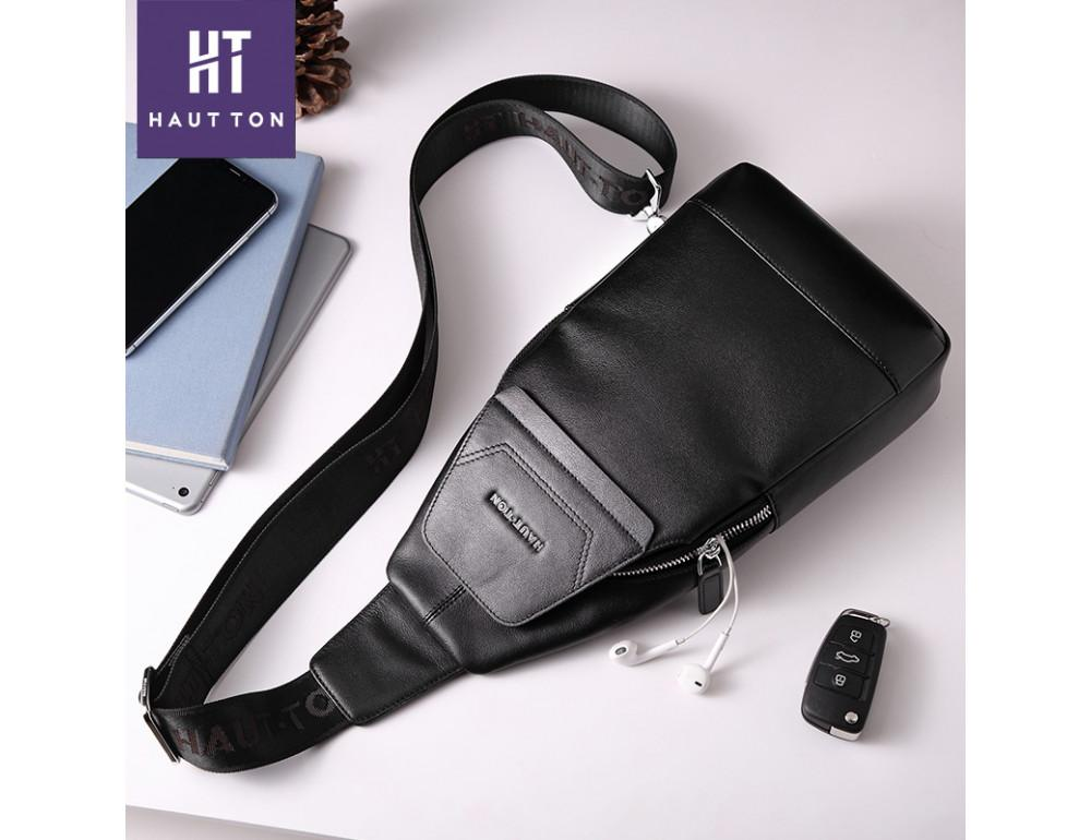 Мужская кожаная сумка-рюкзак Hautton DB116A чёрный - Фото № 4