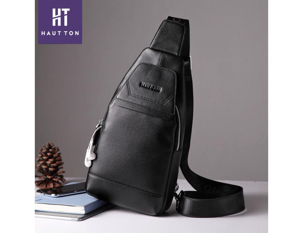 Мужская кожаная сумка-рюкзак Hautton DB116A чёрный - Фото № 5