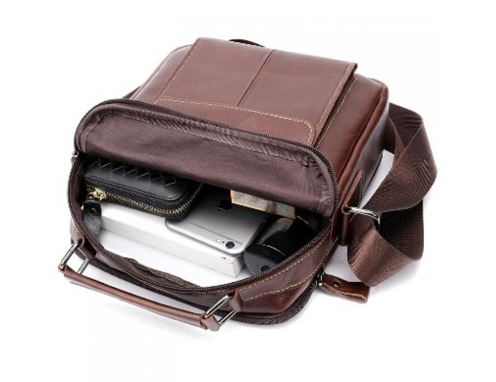 Мужская сумка через плечо Tiding Bag M37-369C коричневая - Фото № 4