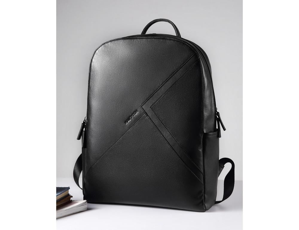 Мужской кожаный рюкзак Hautton SZB030A чёрный