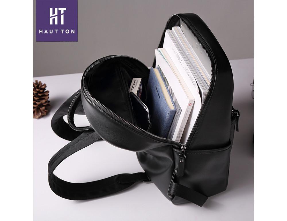 Мужской кожаный рюкзак Hautton SZB117A чёрный - Фото № 2