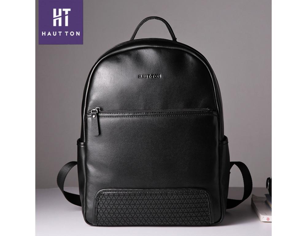 Чоловічий шкіряний рюкзак Hautton SZB117A чорний