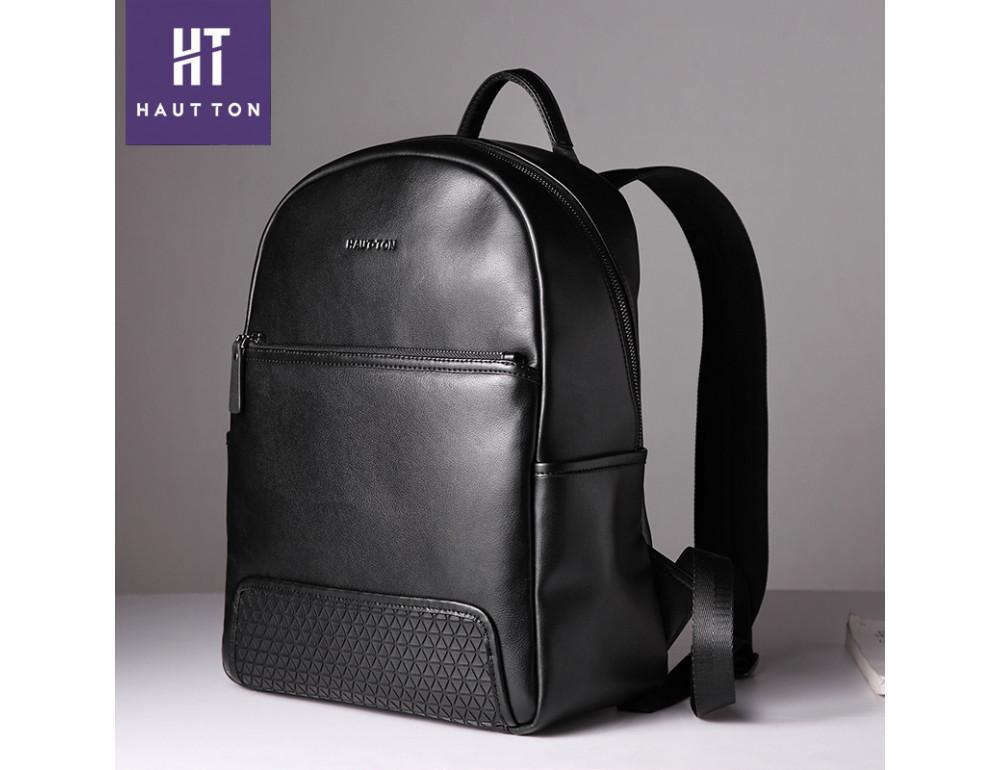 Мужской кожаный рюкзак Hautton SZB117A чёрный - Фото № 3