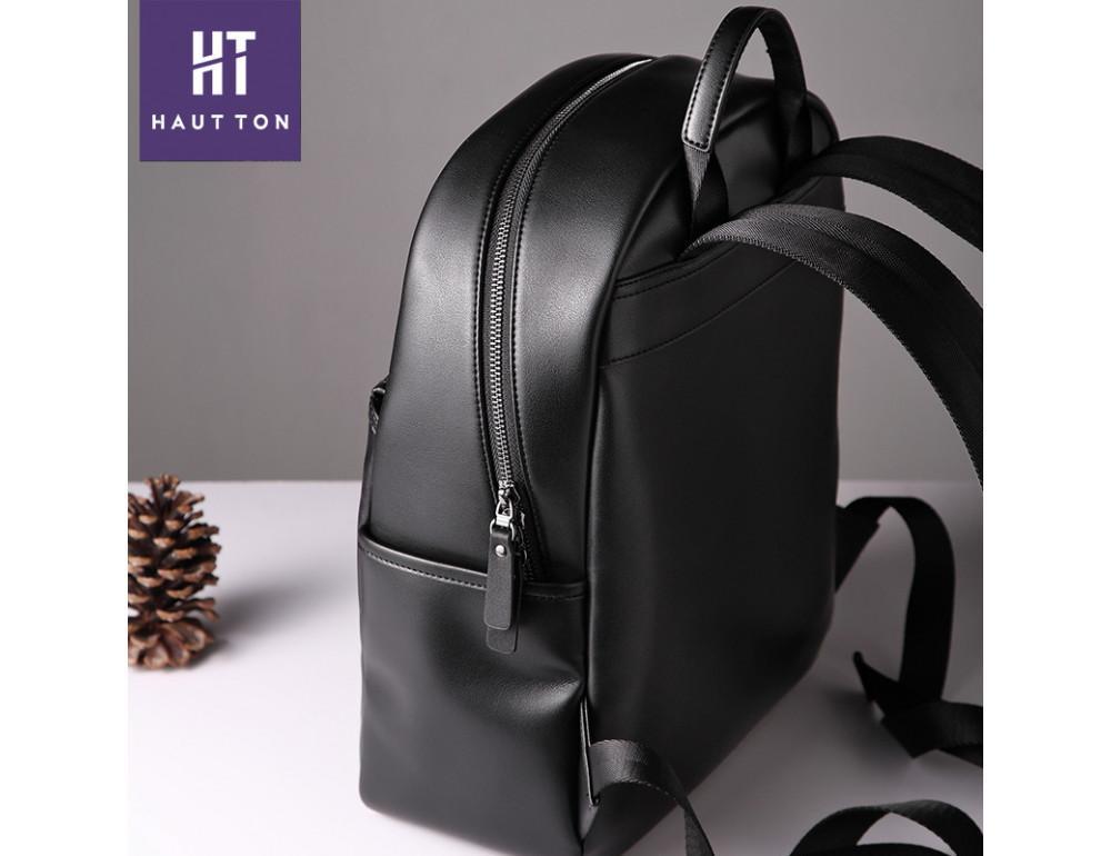 Мужской кожаный рюкзак Hautton SZB117A чёрный - Фото № 4