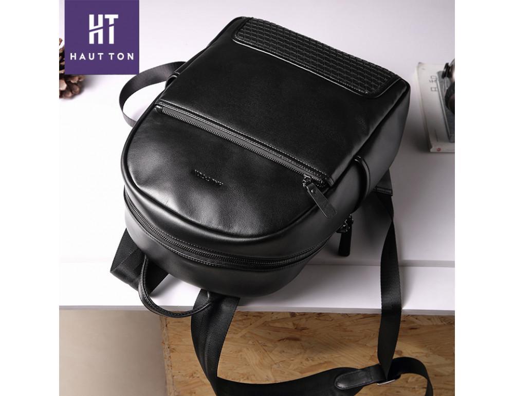 Мужской кожаный рюкзак Hautton SZB117A чёрный - Фото № 5