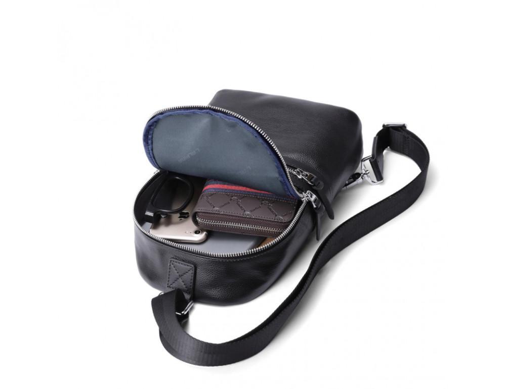 Мужской кожаный рюкзак Hautton SZB2003A чёрный - Фото № 2