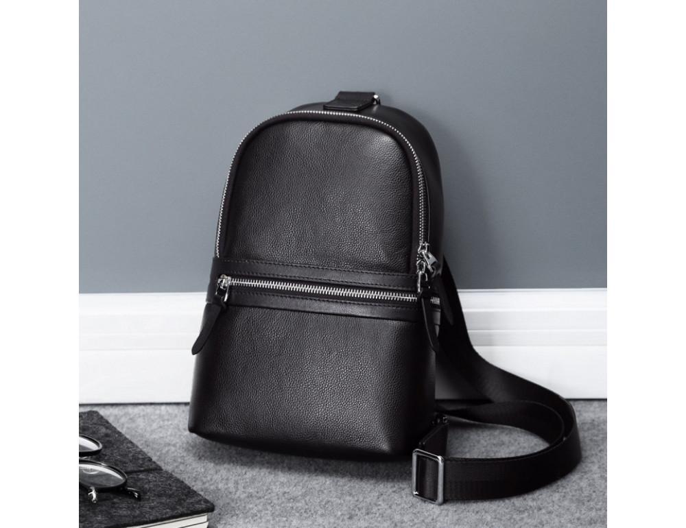 Мужской кожаный рюкзак Hautton SZB2003A чёрный - Фото № 1