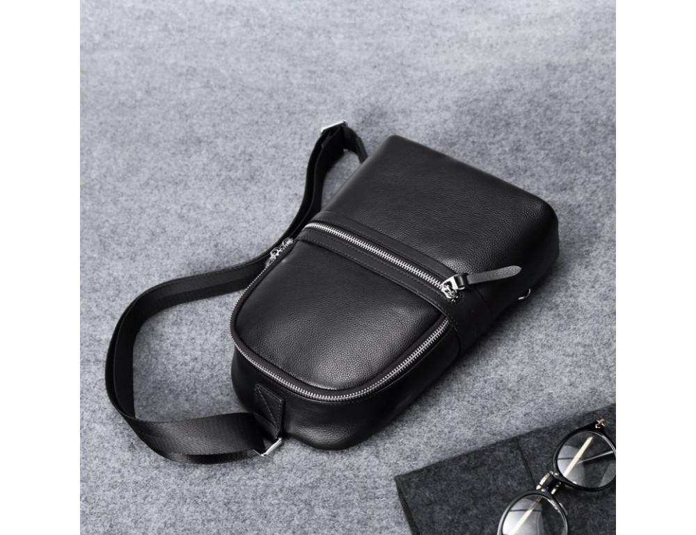 Мужской кожаный рюкзак Hautton SZB2003A чёрный - Фото № 3