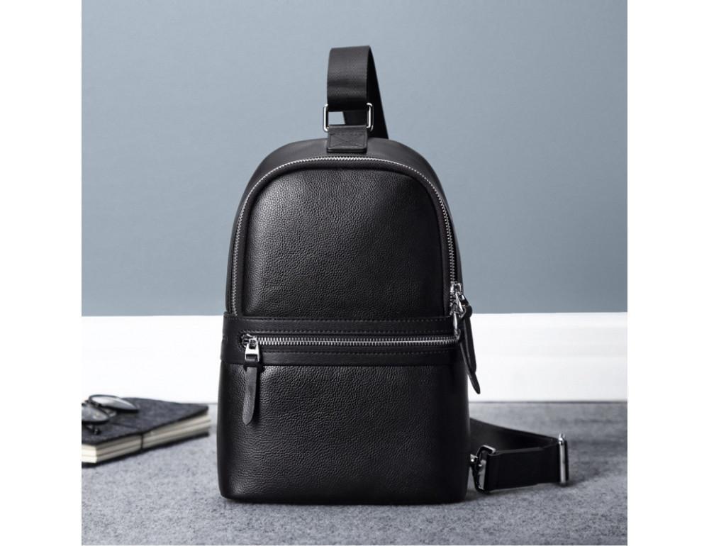 Мужской кожаный рюкзак Hautton SZB2003A чёрный - Фото № 4