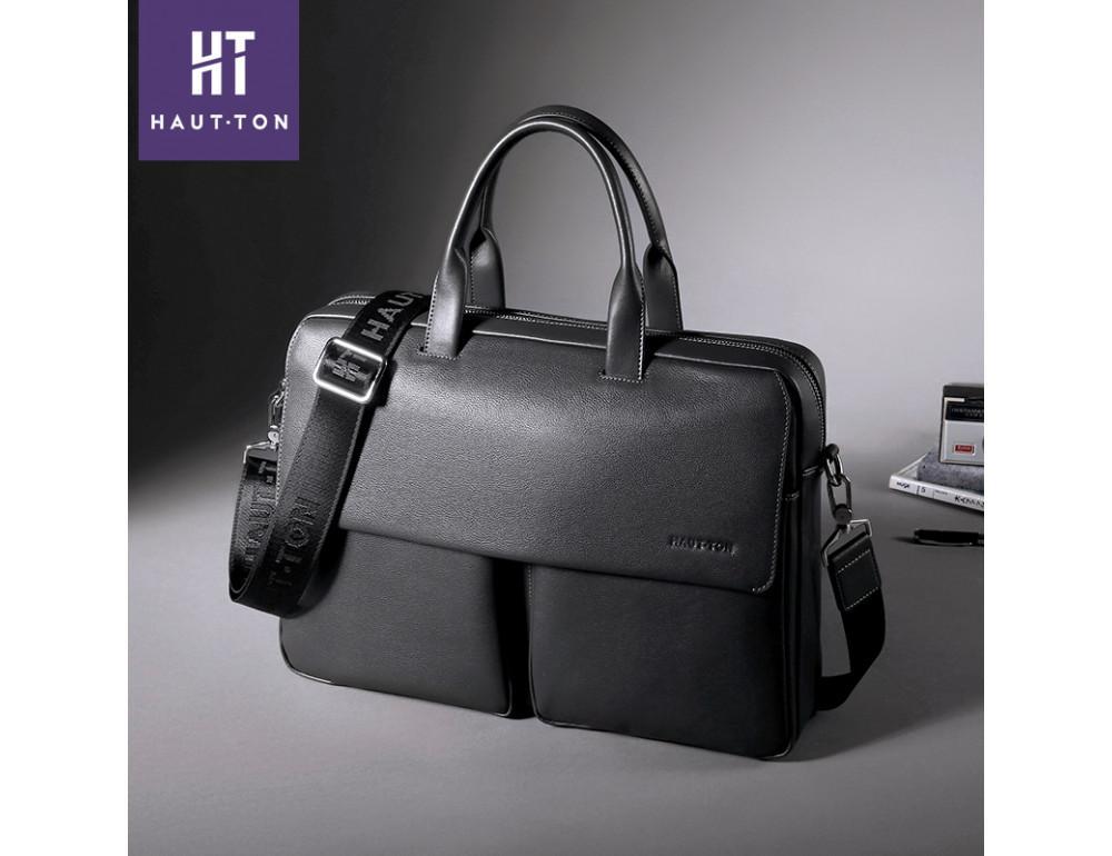Кожаная сумка Hautton SZB9183AG тёмно-серая - Фото № 2