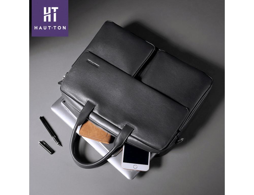 Кожаная сумка Hautton SZB9183AG тёмно-серая - Фото № 3