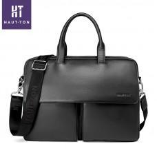 Кожаная сумка Hautton SZB9183AG тёмно-серая