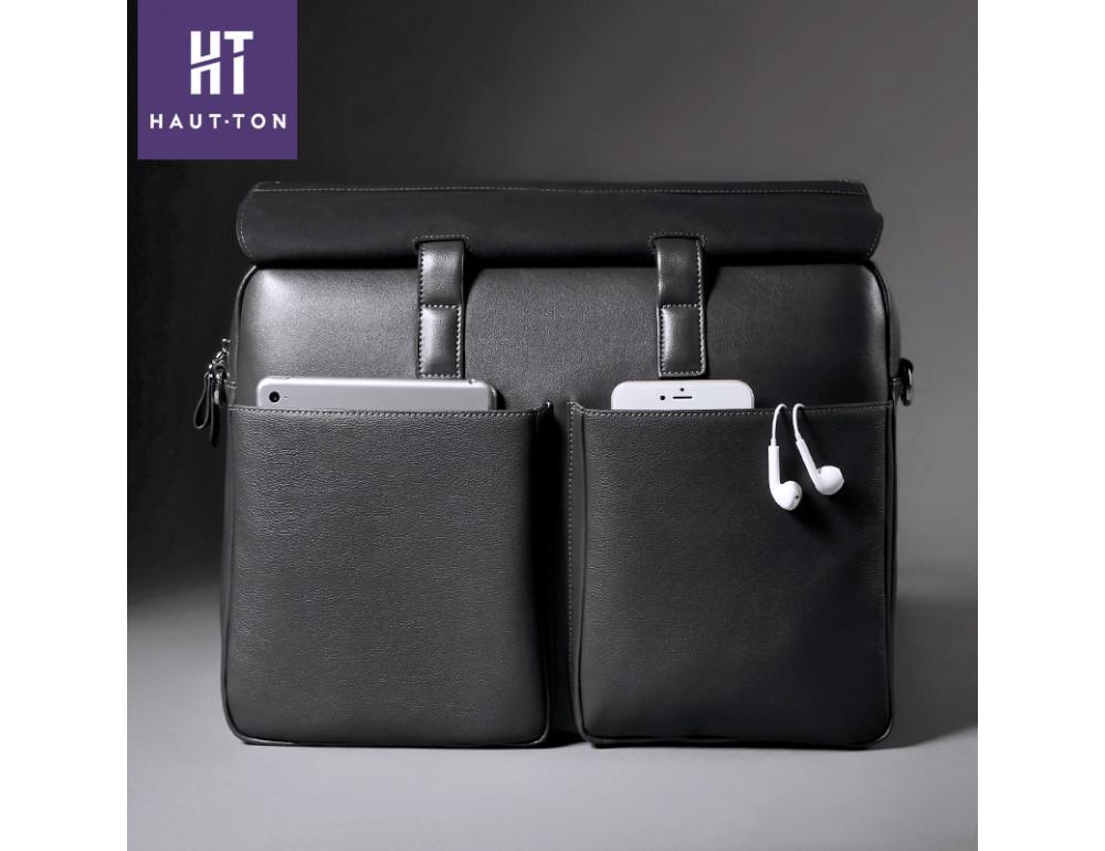 Кожаная сумка Hautton SZB9183AG тёмно-серая - Фото № 4