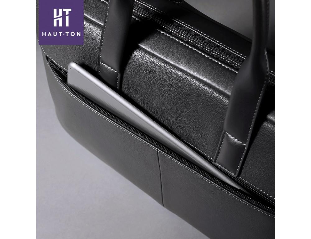 Кожаная сумка Hautton SZB9183AG тёмно-серая - Фото № 5