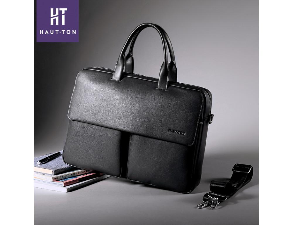 Кожаная сумка Hautton SZB9183AG тёмно-серая - Фото № 6