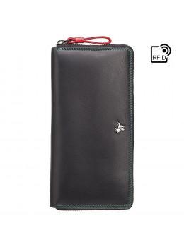 Чорний шкіряний гаманець Visconti SP79 BLK M Violet c RFID