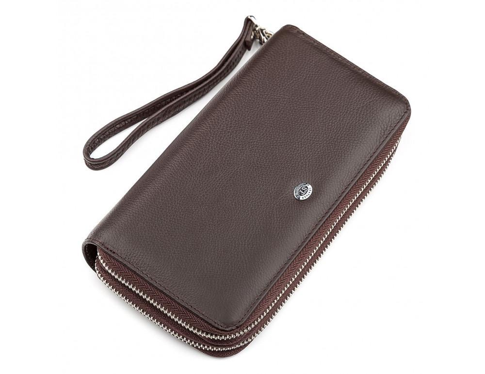 Коричневый кожаный клатч ST Leather ST127C - Фото № 1
