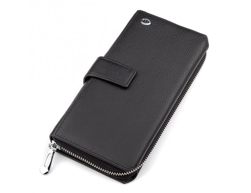 Чёрный кожаный кошелек ST Leather ST128A - Фото № 1