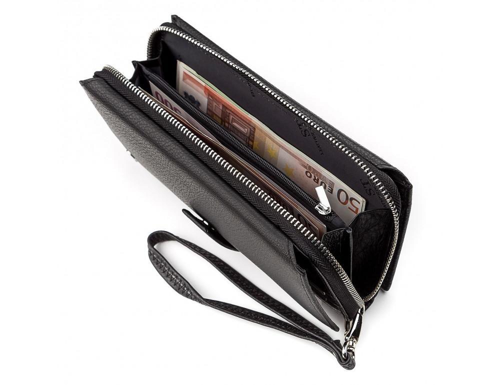 Чёрный кожаный кошелек ST Leather ST128A - Фото № 4