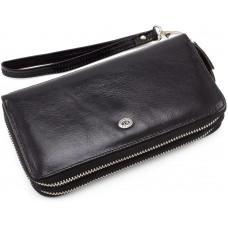 Чёрный кожаный клатч на два отделения ST Leather ST139-3A