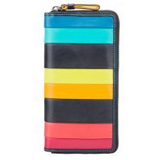 Чёрный кожаный женский кошелёк-клатч Visconti STR5 BLK M Corfu c RFID