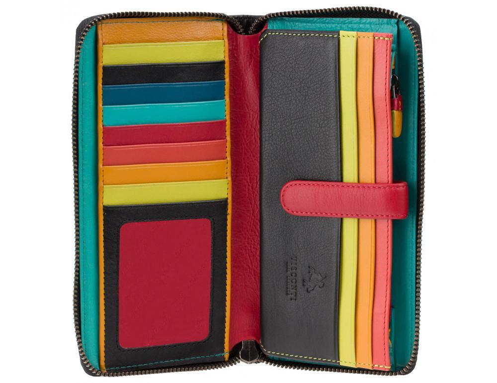 Чёрный кожаный женский кошелёк-клатч Visconti STR5 BLK M Corfu c RFID - Фото № 2