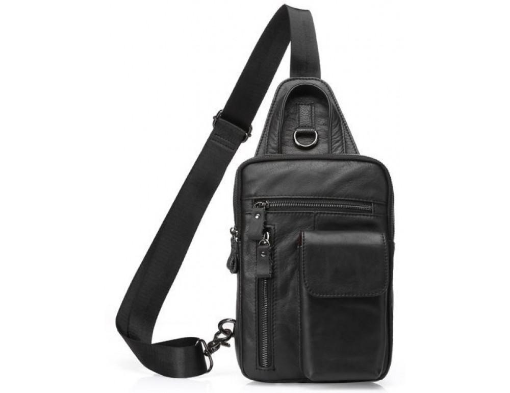 Чорна сумка-месенджер зі шкіри Tiding Bag 4006A
