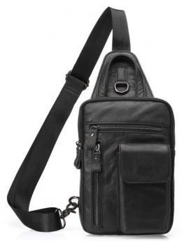 Чёрная сумка-мессенджер из кожи Tiding Bag 4006A