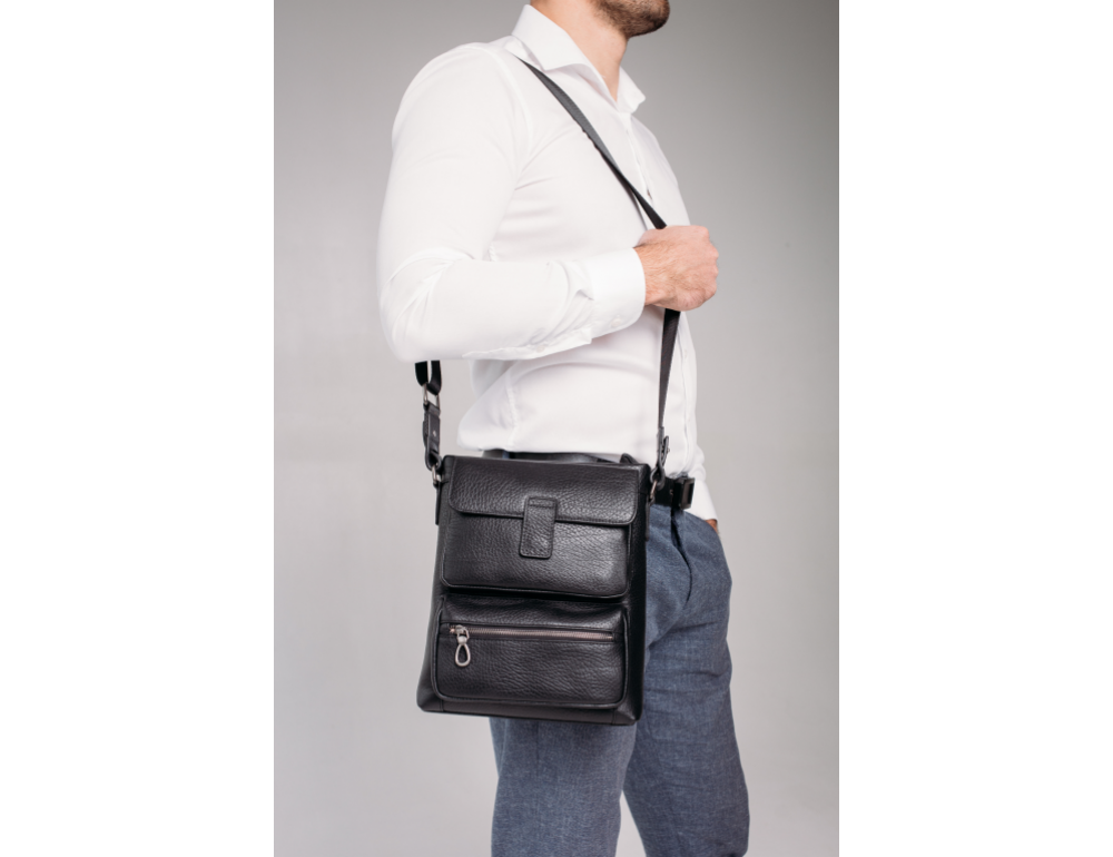 Чёрная сумка мессенджер Tavinchi S-009A - Фото № 2