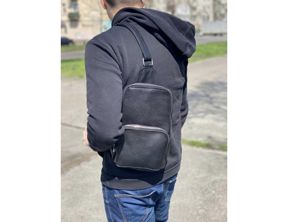 Чёрная кожаная сумка на грудь мужская Newery N41719FA - Фото № 2