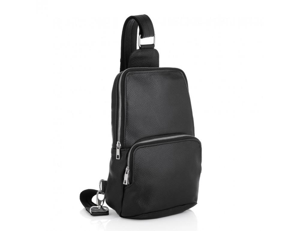 Чёрная кожаная сумка на грудь мужская Newery N41719FA - Фото № 1