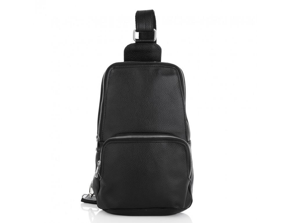 Чёрная кожаная сумка на грудь мужская Newery N41719FA - Фото № 4