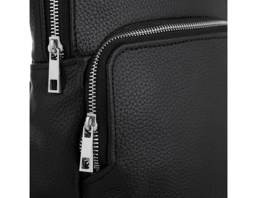 Чёрная кожаная сумка на грудь мужская Newery N41719FA - Фото № 5