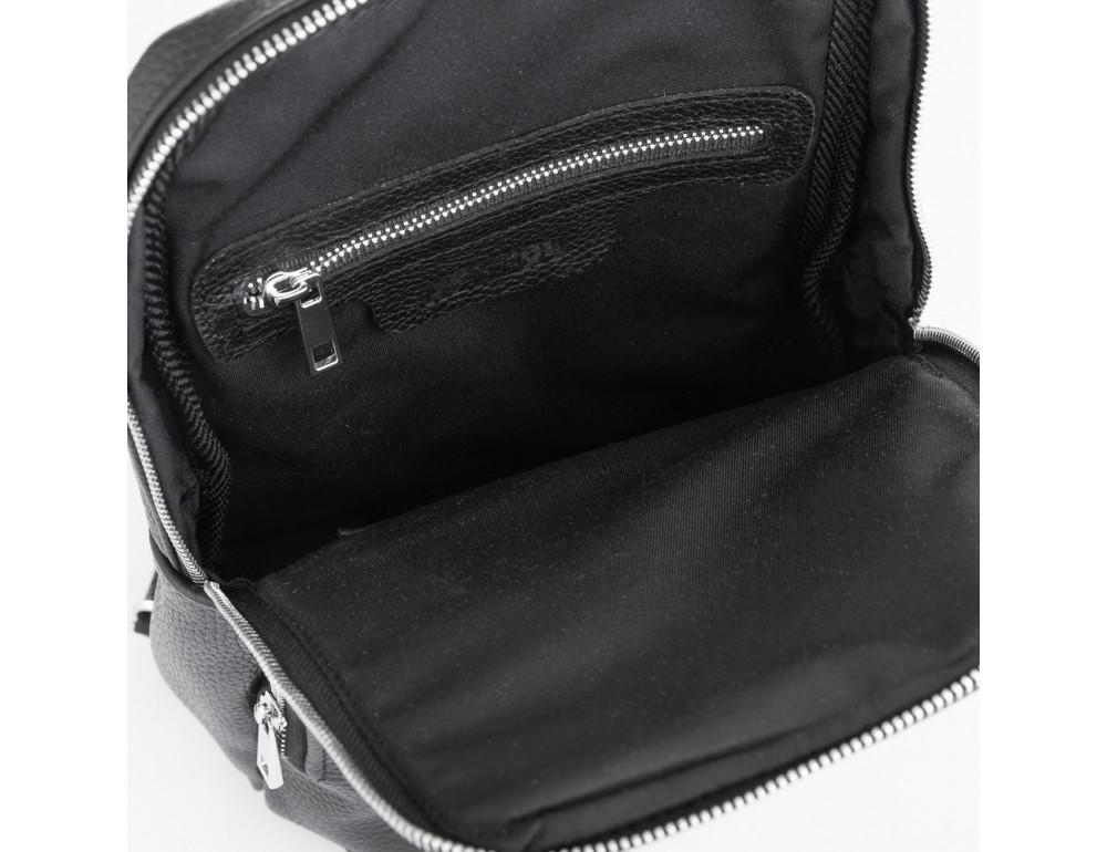 Чёрная кожаная сумка на грудь мужская Newery N41719FA - Фото № 6