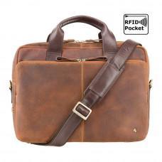 Коричневая мужская сумка под ноутбук из винтажной кожи Visconti  TC82 TAN/MLN Hugo