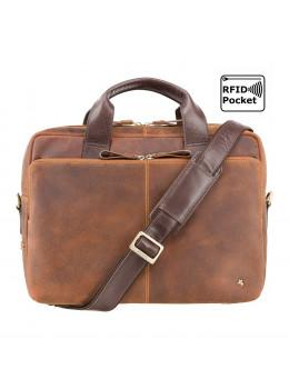Коричнева чоловіча сумка під ноутбук з вінтажній шкіри Visconti TC82 TAN/MLN Hugo