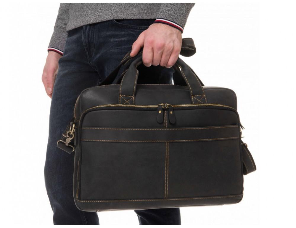 Чёрная кожаная сумка под ноутбук Tiding Bag t0033A - Фото № 2