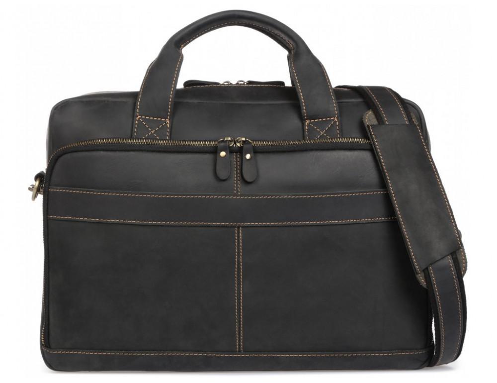 Чёрная кожаная сумка под ноутбук Tiding Bag t0033A - Фото № 1