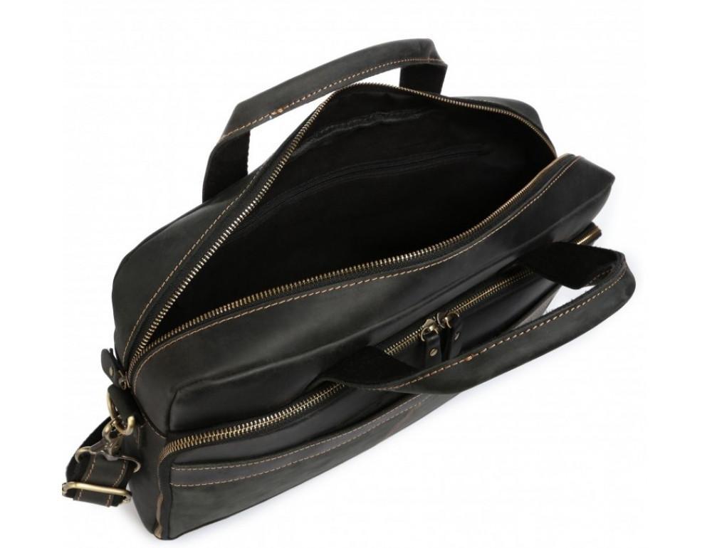 Чёрная кожаная сумка под ноутбук Tiding Bag t0033A - Фото № 3