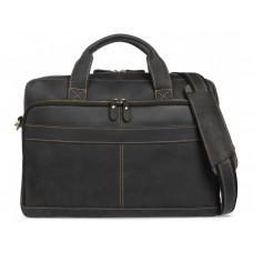 Чёрная кожаная сумка под ноутбук Tiding Bag t0033A