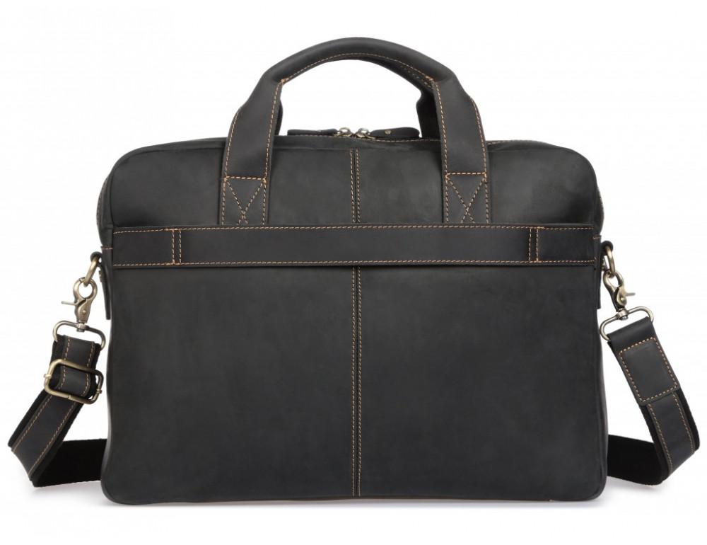 Чёрная кожаная сумка под ноутбук Tiding Bag t0033A - Фото № 4