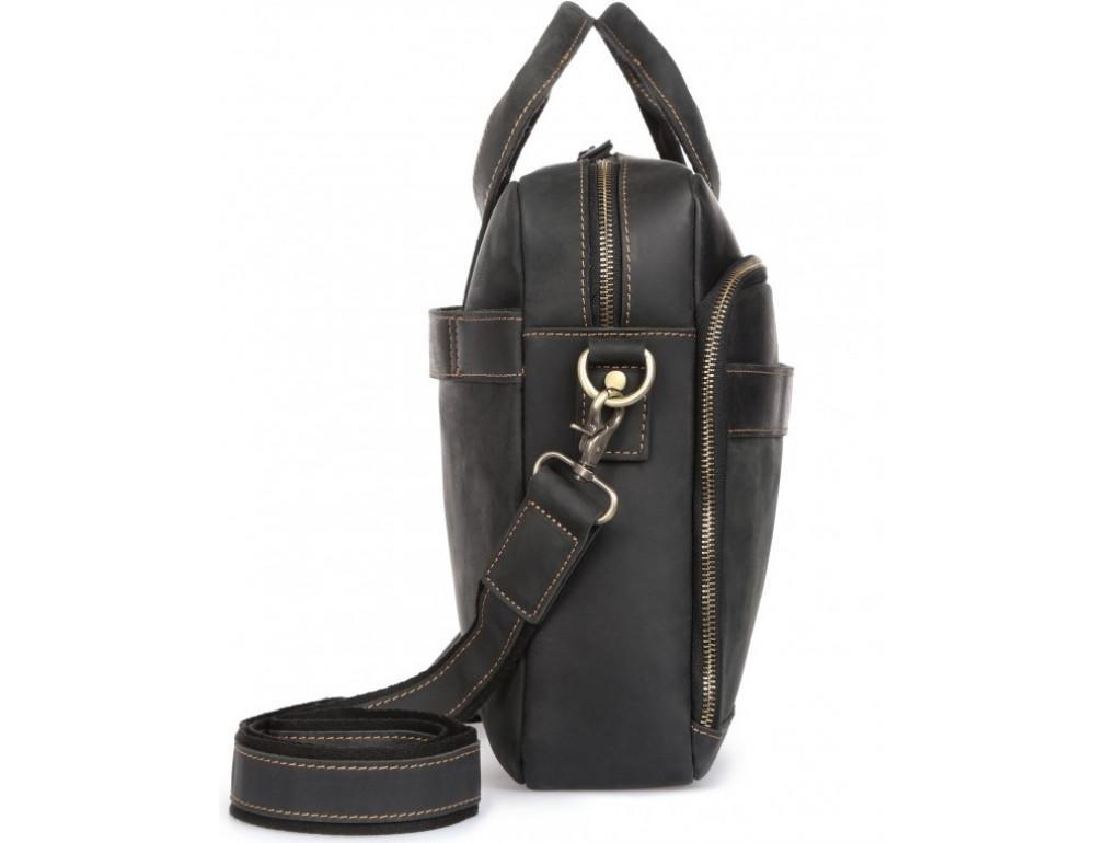 Чёрная кожаная сумка под ноутбук Tiding Bag t0033A - Фото № 5