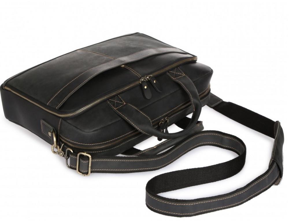 Чёрная кожаная сумка под ноутбук Tiding Bag t0033A - Фото № 6