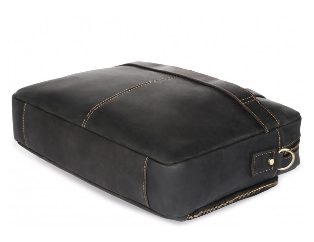 Чёрная кожаная сумка под ноутбук Tiding Bag t0033A - Фото № 7