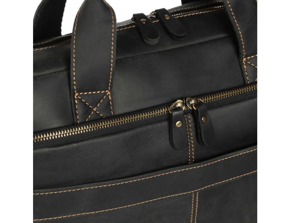 Чёрная кожаная сумка под ноутбук Tiding Bag t0033A - Фото № 8
