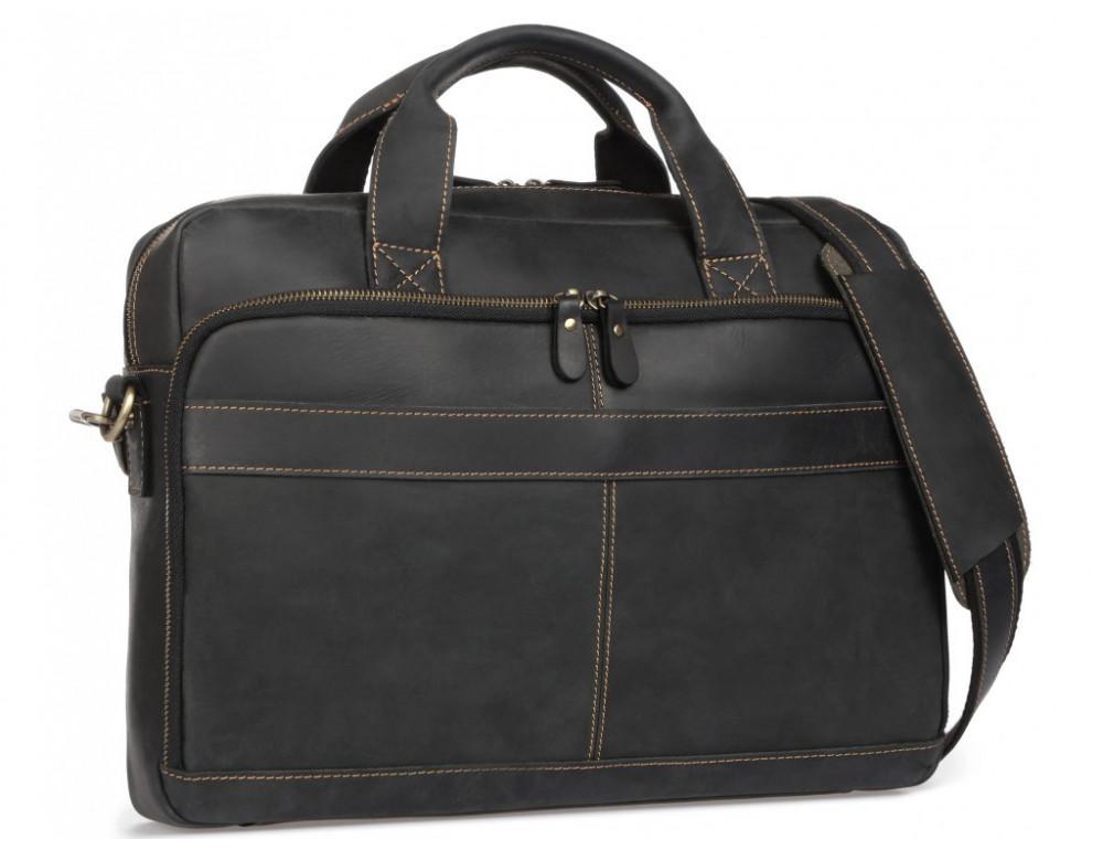 Чёрная кожаная сумка под ноутбук Tiding Bag t0033A - Фото № 9