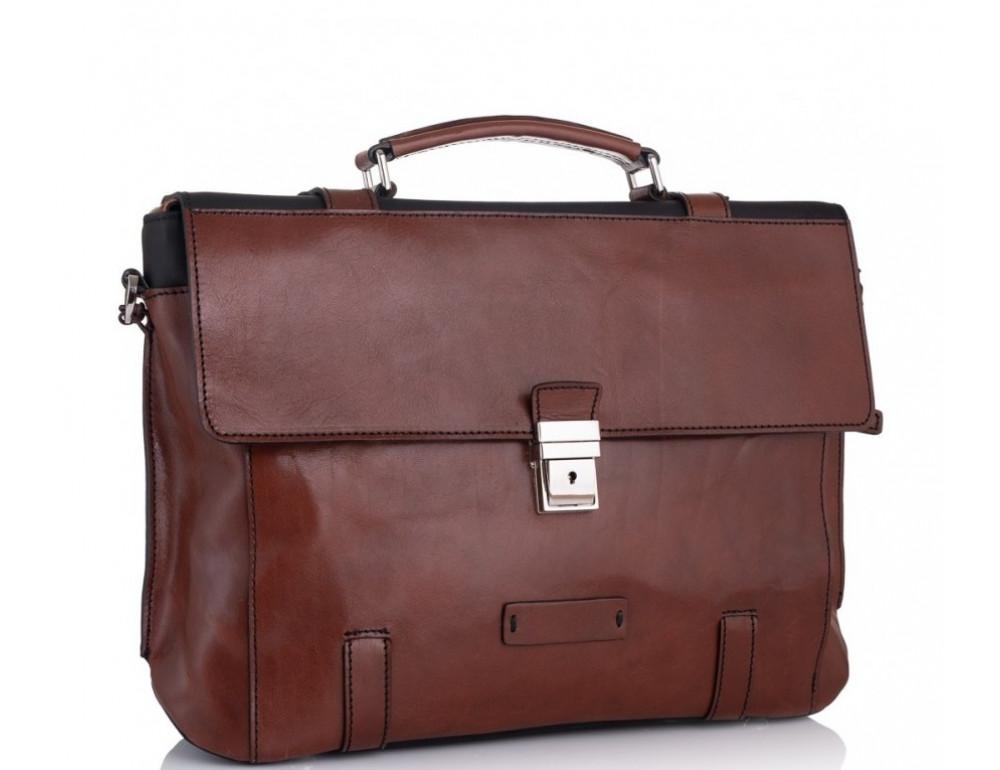 Коричневый кожаный портфель Tiding Bag t0041 - Фото № 1