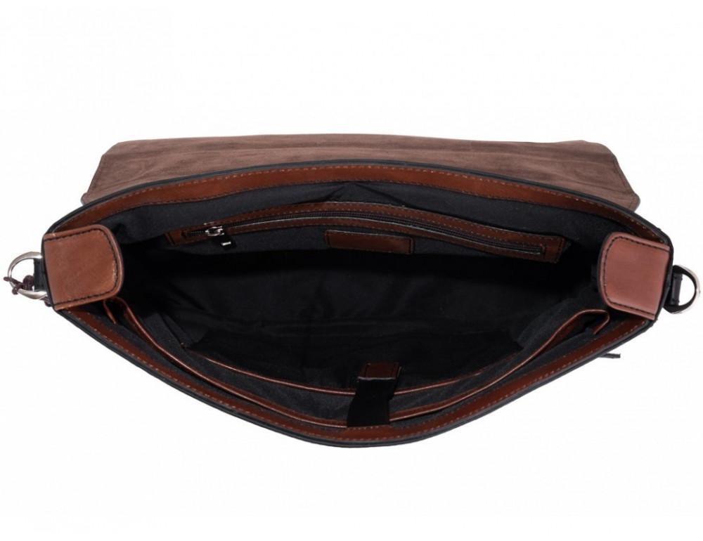 Коричневый кожаный портфель Tiding Bag t0041 - Фото № 3