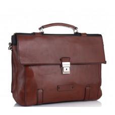 Коричневый кожаный портфель Tiding Bag t0041